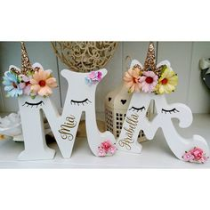 Floral sleepy unicorn girls freestanding wooden 15cm any letter/name chic gift | Home, Furniture & DIY, Home Decor, Plaques & Signs | eBay!