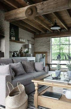 Living room wood design ceilings ideas for 2019 Home Living Room, Living Room Decor, Living Spaces, Style At Home, Room Color Schemes, Room Colors, Rustic Interiors, Wood Design, Home Fashion