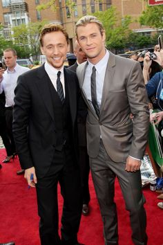 Can we now take a moment and just enjoy this picture---Tom Hiddleston and Chris Hemsworth at Tribeca Film Festival Premiere for The Avengers.