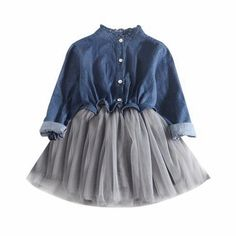 Toddler Baby Girls Denim Dress Long Sleeve Princess Tutu Dress Cowboy Clothes Attention plz: If your kid is chubby, we recomend choosi. Princess Tutu Dresses, Baby Girl Dresses, Baby Dress, Baby Girls, Toddler Girls, Kids Girls, Kids Outfits Girls, Girl Outfits, Girls Denim Dress