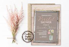 Rustic Bridal Shower Invitation Daisy Flowers Wood String Lights Frame Pink Personalized Printable Mason Jar Wedding Digital invites Romance