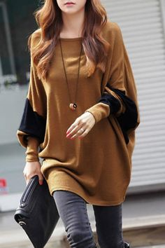 Round Neck Loose Batwing Long Sleeve T-shirt