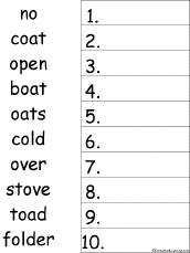 long o words | Put 10 Long O Words in Alphabetical Order - Worksheet