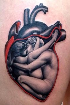 This heart tattoo has a loving couple inside. Wouldn't get as tattoo but had to pin because it is amazing art.