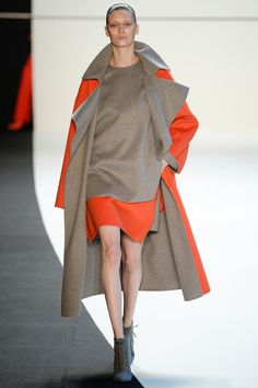 Akris | Fall 2014 grey orange color block dress and coat #minimalist #fashion #style