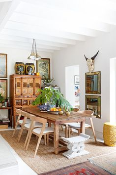 The renovation of this Sea Point cottage proves it's possible to scale down while still living large. For more, visit houseandleisure.co.za Compact Living, Clean Design, Dining Table, Dining Rooms, Interior Inspiration, Sweet Home, Cottage, Contemporary, Furniture