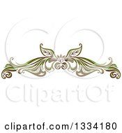 Clipart Of A Green And Brown Floral Design Element Flourish Royalty Free Vector Illustration by Cherie Reve