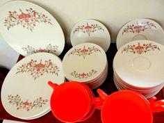 Vintage Tangerine Melmac Dinnerware by CapeCodLaurieDesigns, $50.00