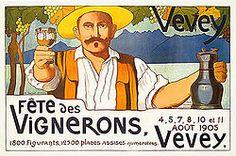 Poster for the Fête des Vignerons from Vevey Vevey, Festival Dates, Wine Festival, Poster Retro, Vintage Posters, Fürstentum Liechtenstein, Plan My Trip, Cultural Significance, Luggage Labels