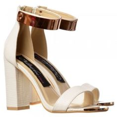 2ea40b333d7 Onlineshoe Peep Toe Mid Heels - High Back Strappy Sandals Gold Cuff - Black,  White, Orange, Silver - Onlineshoe from Onlineshoe UK