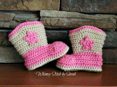 Crochet Cowboy/Cowgirl BootsPhotoPropMade by Whimsystitchbysarah, $25.00