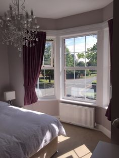 Master Bedroom Walls painted in Farrow and Ball Peignoir Window frame and Headboard created from up cycled floorboards painted in Farrow and Ball All White, Chandelier BHS Work completed by neil@hmsinfo.co.uk