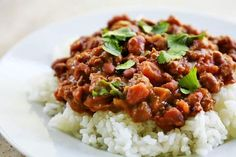 Louisiana style chili beans with ground beef and pinto beans, served over rice.