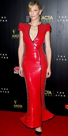Cate Blanchett struck a pose at the AACTA Awards in a sequin Armani Privé gown, tassel earrings and patent leather pumps