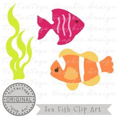 Fish Clip Art, Clown Angel Fish Digital Clipart, Seaweed Commercial OK only 99¢