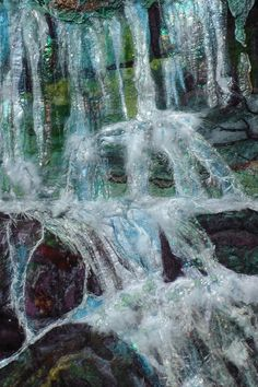 Waterfalls.Landscape Elan Valley. Water Wall by FabricsofNature, £495.00 ............This has Blown me away.. how does she do it, It's Stunning!!!