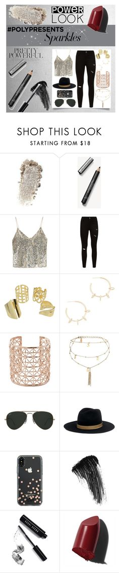"""""""#PolyPresents: Sparkly Beauty"""" by vera-xiv ❤ liked on Polyvore featuring beauty, Burberry, Alice + Olivia, Justine Clenquet, Co.Ro, Ettika, Ray-Ban, Janessa Leone, Kate Spade and Eyeko"""