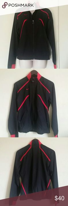 Women's Nike Storm Running Track Nike Storm Running Track  Size: Medium Color: Black/Red  Perfect for running track for chilly days LIKE NEW Used only once No stains, holes or stains Pet and smoke free home Nike Jackets & Coats