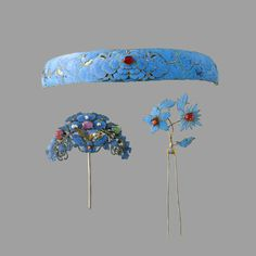 Three feather-embellished hair ornaments, Qing Dynasty, 19-20th Century.
