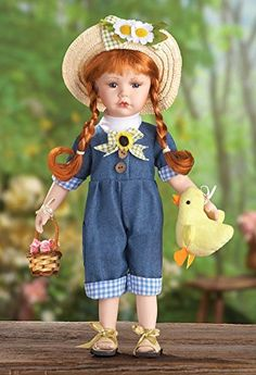 Country Carrie Overalls Adorable Red Hair Porcelain Collectible Doll