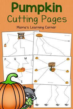 Free Pumpkin Cutting Pages - fun scissor skills practice for preschool and Early Kindergarten!