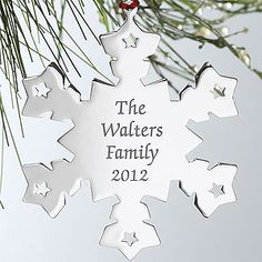 Engraved Silver Personalized Snowflake Christmas Ornament - 4378