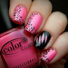 Bright pink nails with abstract leopard print and a black claw rip design on the accent nail...x