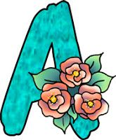 ArtbyJean - Paper Crafts: Alphabet Set Prints - Aqua background dark peach roses.