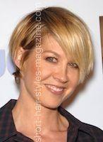 I've always loved Jenna Elfman's hair.  Shaggy bang, short, short in back.