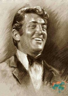 Dean Martin by Ylli Haruni ~ charcoal pastel on Canson paper Dean Martin, Jerry Lewis, Caricature Drawing, Star Wars, Celebrity Portraits, Pencil Portrait, Hollywood Stars, Classic Hollywood, Sculpture