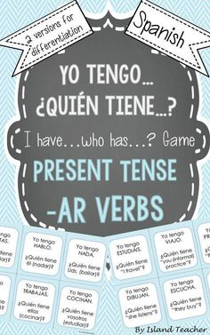 Interactive, whole class game to practice Spanish AR verb conjugations and meanings. #spanishconjugation #learnspanish