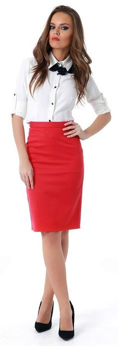Dressed For Long Day At Office In White Shirt And Red Pencil Skirt