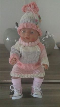 Knitting Dolls Clothes, Doll Clothes, Baby Born Clothes, Knit Crochet, Crochet Hats, Fabric Toys, Baby Sneakers, Child Doll, Baby Knitting