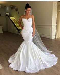 Gorgeous Embroidered Strapless Sweetheart Mermaid Wedding Dress / Bridal Gown with a Veil and a Train. Dress by Valdrin Sahiti Cheap Wedding Dresses Online, Long Wedding Dresses, Bridal Dresses, Wedding Gowns, Lace Wedding, Bridesmaid Dresses, Wedding Dinner, Wedding Venues, Dresses Dresses
