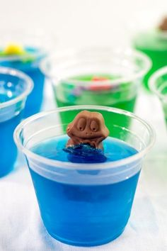 Frog in a Pond - a popular dessert or Kid's party food in Australia!   Made with Freddo Frogs and Jelly (Jell-O) or make your own chocolate frogs.