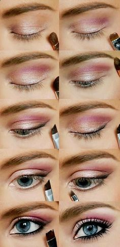 Pink  Gold Eye Makeup Tutorial. #howto #tutorial #eyes #eyeshadow #makeup #beauty #cosmetics #pink #gold #eyeliner #beautiful