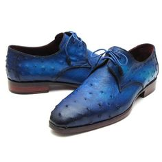 PAUL PARKMAN MEN'S OCEAN COLOR GENUINE OSTRICH... | Men's Luxury Shoes by PAUL PARKMAN