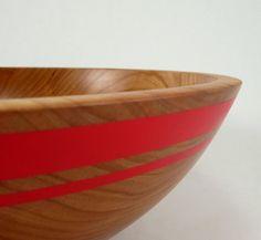 Binary+Red++Black+Cherry+Wood+Bowl+by+makye77+on+Etsy,+$68.00