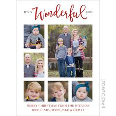 It's A Wonderful Life Multi Photo Holiday Card by KateOGroup.  This design can accommodate up to 9 photos of your family.  It can be customized to fit your photos.  #MultiPhotoCard #HolidayCard #HolidayPhotoCard #ChristmasCard #WonderfulLife