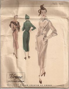 SALE Vintage Vogue Couturier Design No. 553, RARE 1950 Assymetrical Sheath Dress sewing pattern, RARE, fitted bodice, slim skirt, 34 Bust on Etsy, $75.00