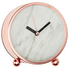 Target Australia: Copper and Marble! Lisa T Marble Effect Desk Clock {Please bring these to the states} I'm obsessed w/ all things rose gold + white marble combo! Modern Mantel Clocks, Modern Clock, Rose Gold Rooms, Rose Gold Decor, Copper And Marble, Rose Gold Marble, White Marble, White Gold, Cute Desk Accessories