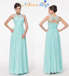 Illusion Lace Jewel Neck Ice Blue Chiffon Prom Dress