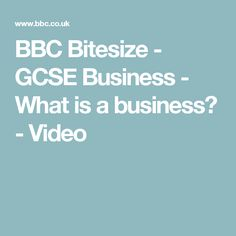 BBC Bitesize - GCSE Business - What is a business? - Video