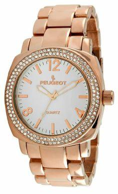 Peugeot Women's 7075RG Rose Gold Swarovski Crystal Bracelet Link Watch