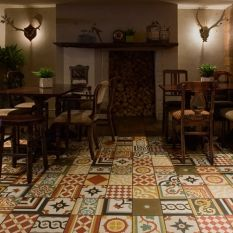 ideaL recycle leftover ceramic tiles floor. like this guys style