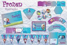 Kit Frozen Ilustração Festa Digital | Bolle Blu Party - Itália | Elo7
