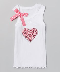 Look at this White Leopard Heart Tank - Infant, Toddler