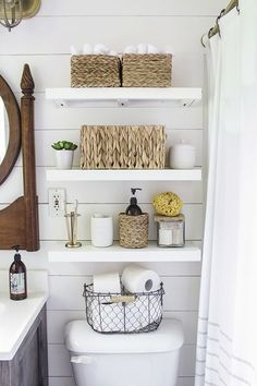 Floating shelves above toilet in small bathroom Bathroomdecor - Bathroom decor .Floating Shelves above toilet in small bathroom Bathroomdecor - Bathroom decor - bathroom bathroomdecor décor Imaginative storage ideas for the bathroom made Bathroom Storage Solutions, Small Bathroom Organization, Bathroom Hacks, Diy Bathroom Decor, Organization Ideas, Budget Bathroom, Bathroom Remodeling, Remodel Bathroom, Bathroom Makeovers