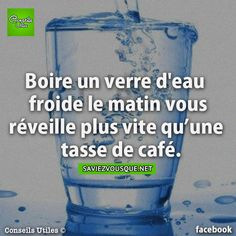 Boire un verre d'eau froide le matin vous réveille plus vite qu'une tasse de café. | Saviez Vous Que? The More You Know, Good To Know, Did You Know, Live Your Life, Funny Facts, Health Remedies, Natural Health, Knowing You, Affirmations