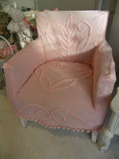 maybe i should cover my funky chair in chenille???Vintage Chic Furniture Schenectady NY